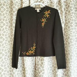 Free People Vintage Floral Beaded Cardigan Black